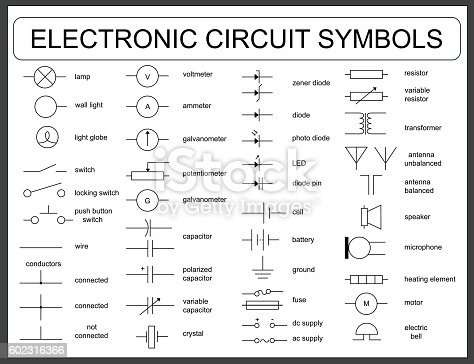 Set Of Electronic Circuit Symbols Stock Vector Art   More