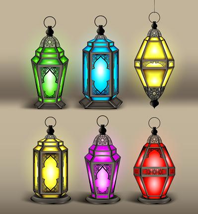 Set of Elegant Arabic or Islamic Lantern or Fanous