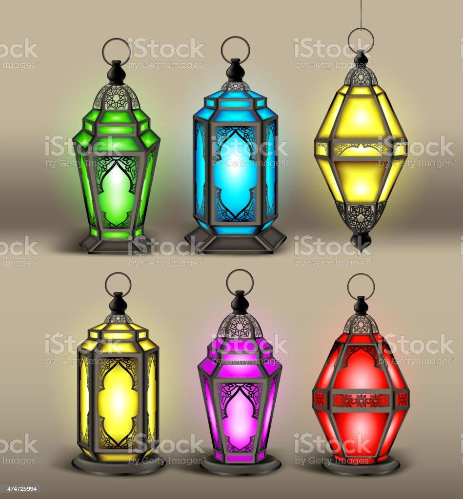 Set of Elegant Arabic or Islamic Lantern or Fanous vector art illustration