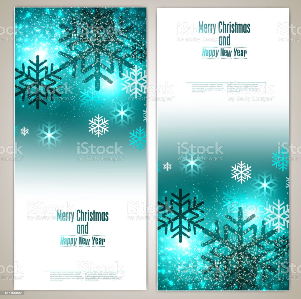 Set of Elegant Christmas banners with snowflakes royalty-free stock vector art