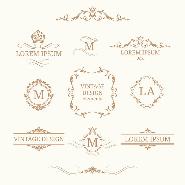 stockillustraties, clipart, cartoons en iconen met set of elegant floral monograms and borders - barokstijl