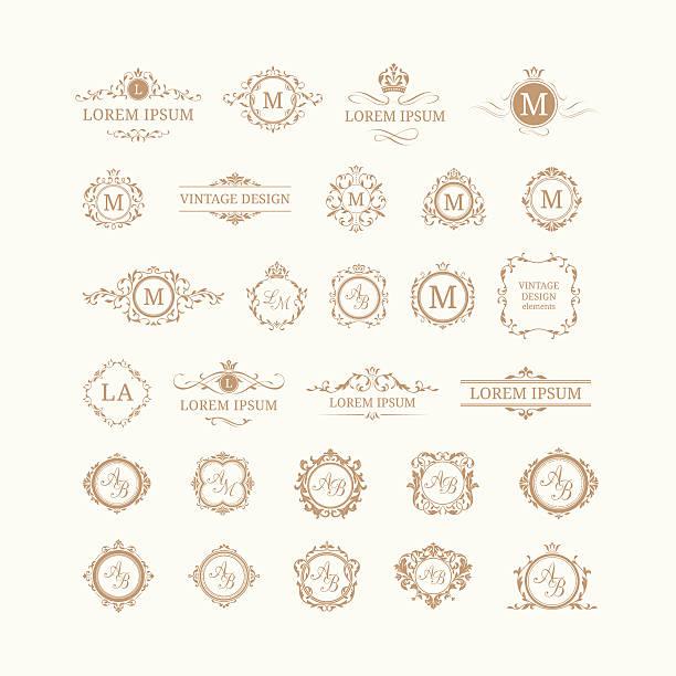 Set of elegant floral monograms and borders Set of elegant floral monograms and borders. Design templates for invitations, menus, labels. Wedding monograms. Monogram identity for restaurant, hotel, heraldic, jewelry. alphabet borders stock illustrations