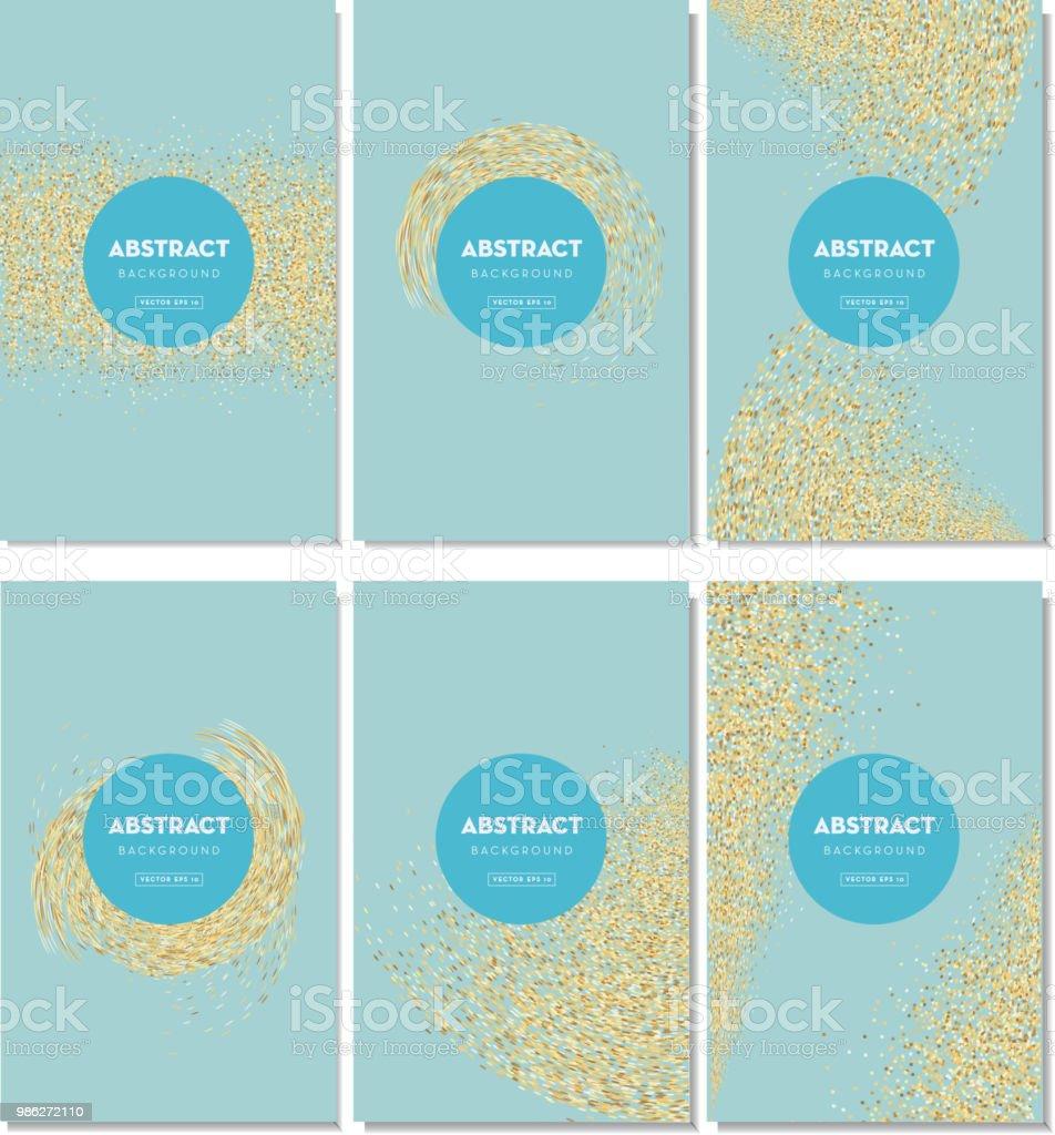 Set Of Elegant Glitter Background Design Templates With Sample Text