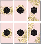 Vector illustration of a Set of glitter  elegant background design templates with sample text. Easy to edit with layers.