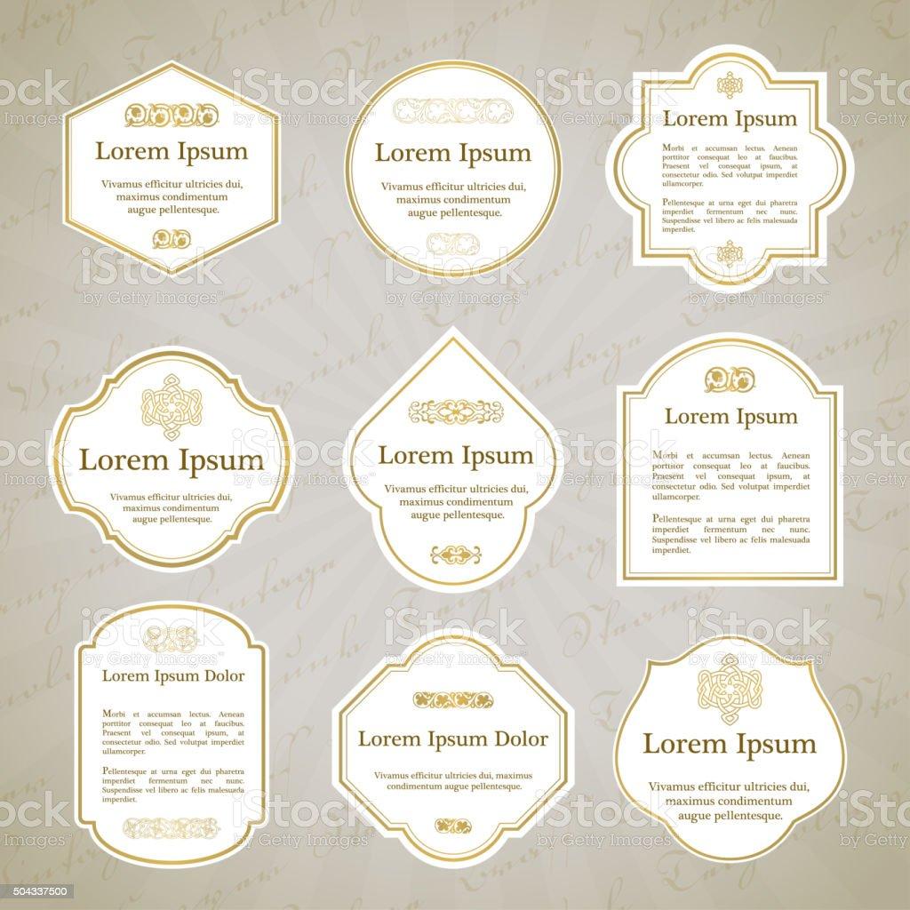 Set of elegant gold and white vintage labels vector art illustration