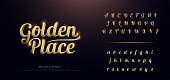 Set of Elegant Gold Colored Metal Chrome alphabet font. Typography classic style golden font set for , Poster, Invitation. vector illustration