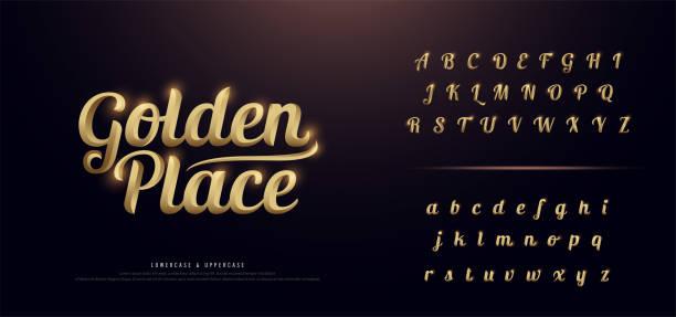 金属クロームのエレガントなゴールド色のアルファベットのフォントのセットです。タイポグラフィ ポスター、招待状に黄金の古典的なスタイルのフォント設定。ベクトル図 - 大文字点のイラスト素材/クリップアート素材/マンガ素材/アイコン素材
