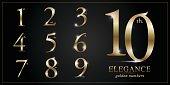Set of Elegant Gold Colored Metal Chrome numbers. 1, 2, 3, 4, 5, 6, 7, 8, 9, 10, icon design, Golden metallic font typography numbers set. Vector illustration