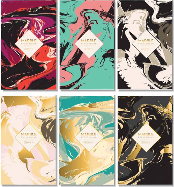 Set of elegant marbled background design templates with sample text vector art illustration