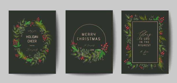 stockillustraties, clipart, cartoons en iconen met set van elegante merry christmas en nieuwjaar 2020 kaarten met pine krans, maretak, winter planten ontwerp illustratie voor groeten, uitnodiging 2019, flyer, brochure, dekking in vector - kerstster