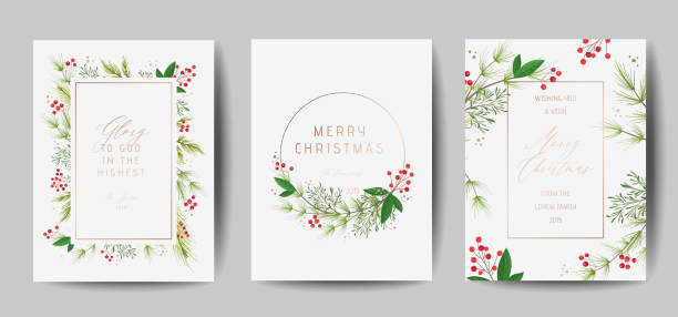 Set of Elegant Merry Christmas and New Year 2020 Cards with Pine Wreath, Mistletoe, Winter plants design illustration for greetings, invitation 2019, flyer, brochure, cover in vector Set of Elegant Merry Christmas and New Year 2020 Cards with Pine Wreath, Mistletoe, Winter plants design illustration for greetings, invitation 2019, flyer, brochure, cover in vector noel stock illustrations