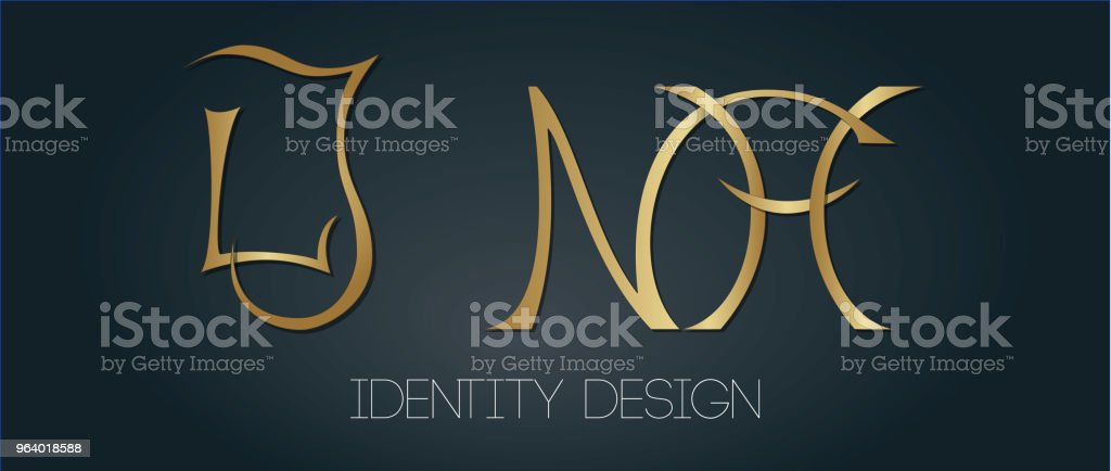 Set of elegant monograms with golden letters LJ and NH on dark background for logotype design and branding - Royalty-free Art stock vector