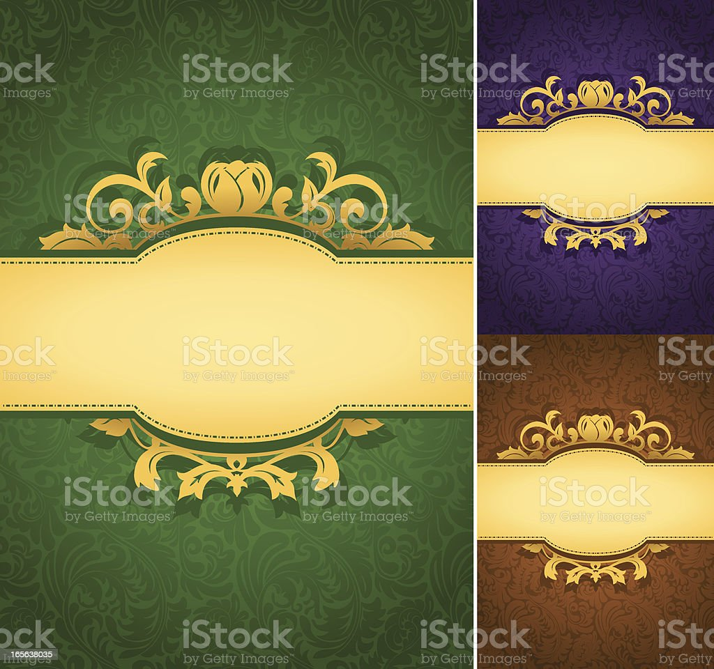 Set of elegant ornate frame banners with wallpaper pattern background royalty-free stock vector art