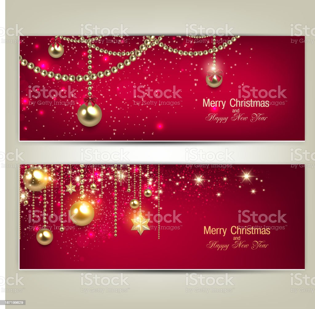 Set of Elegant Red Christmas banners with golden baubles royalty-free stock vector art