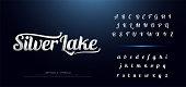Set of Elegant silver Colored Metal Chrome alphabet font. Typography classic style serif font set for , Poster, Invitation. vector illustration