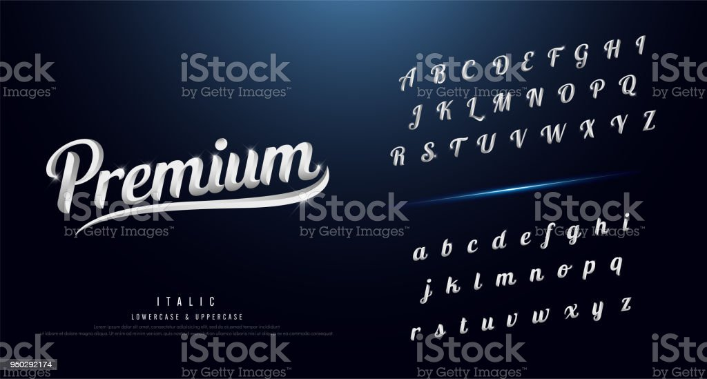 Set of Elegant silver Colored Metal Chrome alphabet font. Typography classic style serif font. vector illustration royalty-free set of elegant silver colored metal chrome alphabet font typography classic style serif font vector illustration stock illustration - download image now