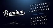 Set of Elegant silver Colored Metal Chrome alphabet font. Typography classic style serif font. vector illustration