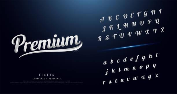 一套典雅的銀色彩色金屬鉻字母字體。版式經典風格襯線字體。向量插圖 - 書法 幅插畫檔、美工圖案、卡通及圖標