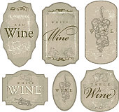 Vector illustration of a set of assorted of wine bottle labels. Download includes Illustrator 8 eps, high resolution jpg and png file.