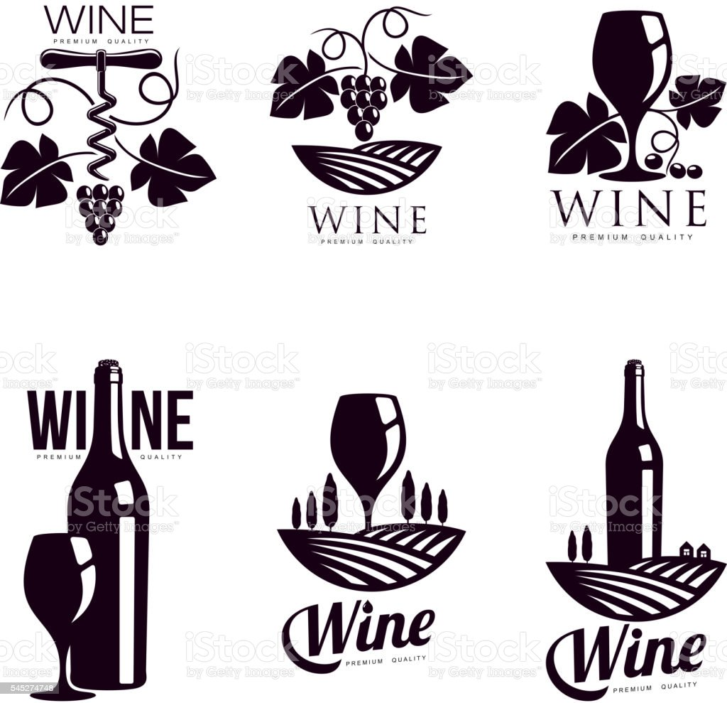 Set of elegant wine logo templates royalty-free set of elegant wine logo templates stock vector art & more images of alcohol