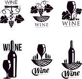 Set of elegant wine logo templates