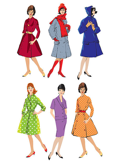 set of elegant women - retro style fashion models - 1940s style stock illustrations