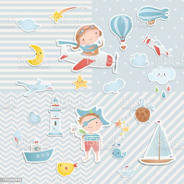 Set of elements for baby shower design with a pilot and a pirate vector id1045305846?b=1&k=6&m=1045305846&s=612x612&h=smytdpsvuu7s1npx4gdt3ufza19olowczep3kbfbsfo=