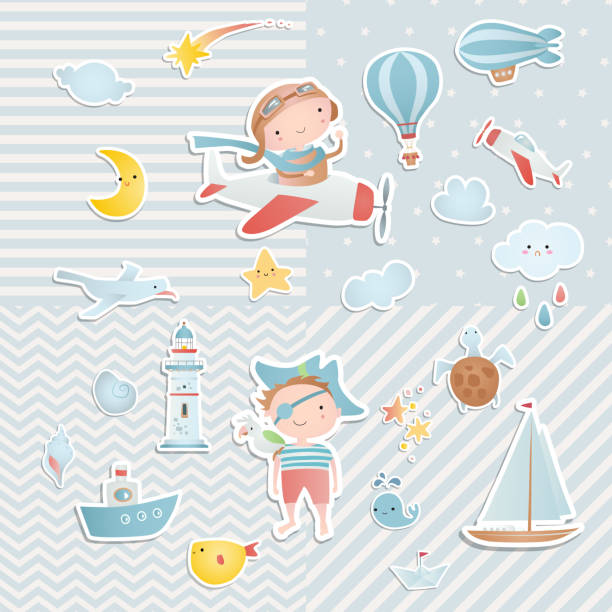 set of elements for baby shower design with a pilot and a pirate. paper, scrapbook. - chłopcy stock illustrations