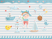Set of elements for baby shower design with a pirate, a ship, a boat, a lighthouse and stars. balloons. Paper, scrapbook.