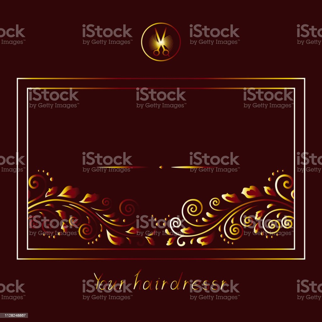 Set Of Elements For Banner Or Salon Hair Salon Stylish Dark Frame Background And Gold Rich Lettering Logo With Vintage Branch And Scissors Illustration Text For Invitation Stock Illustration Download Image