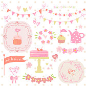 Set of elements for birthday party, greeting cards and scrapbook