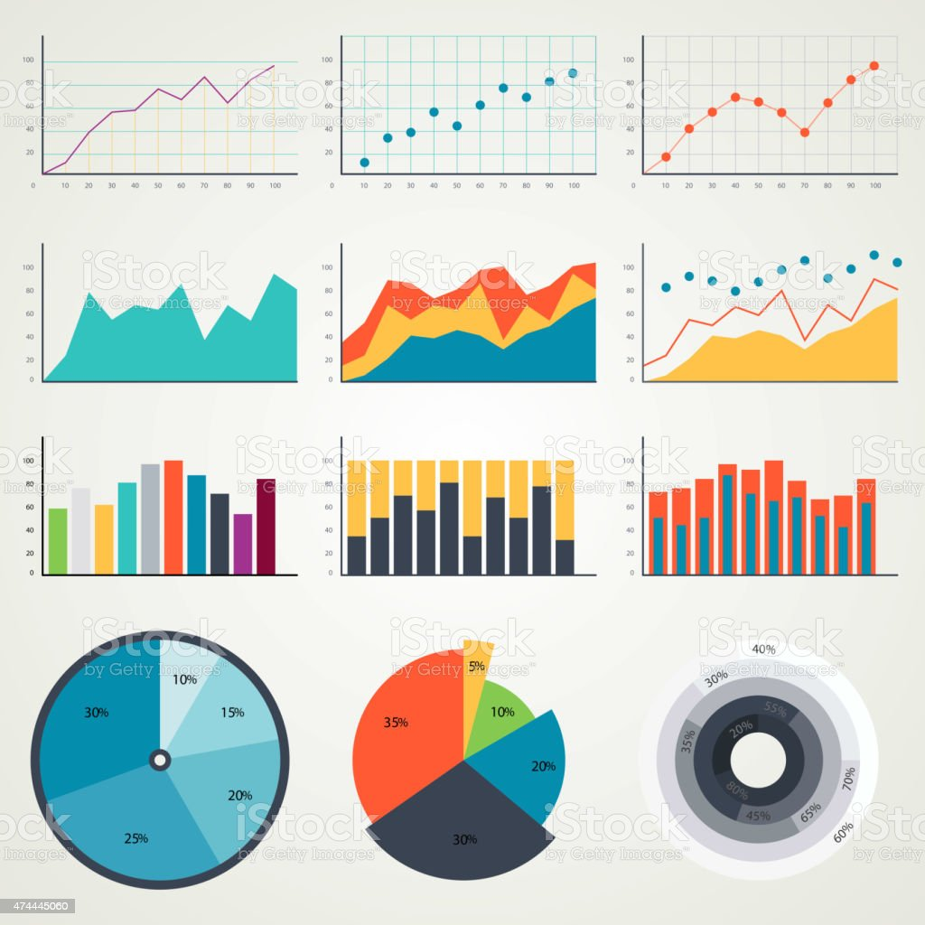 Set of elements for infographics, charts, graphs, diagrams. In color vector art illustration