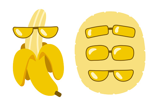 Set of elements for postcards. Funny banana in glasses. Different sunglasses. Yellow delicious fruit for summer design. Funny banana - character.