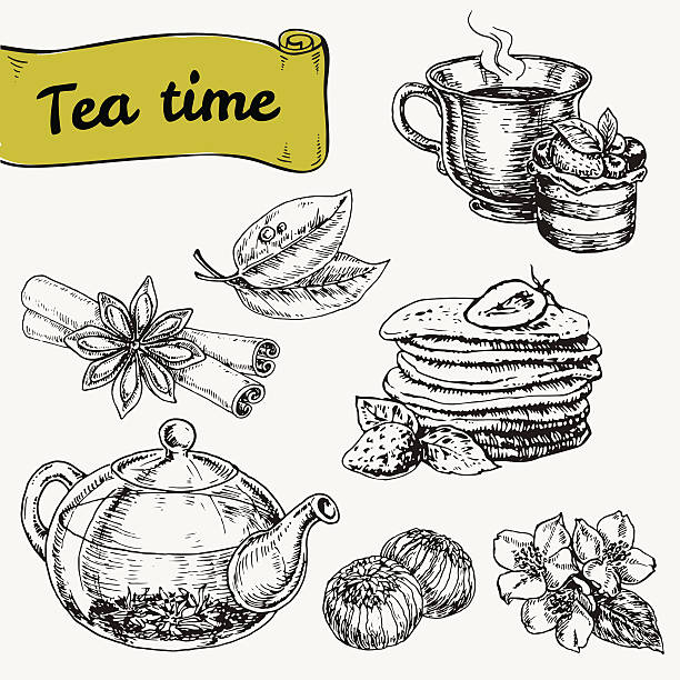 set of elements for tea time or breakfast - stacked tea cups stock illustrations, clip art, cartoons, & icons
