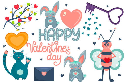 A set of elements for Valentine s day, isolated on a white background. Cute animals in Scandinavian style, lots of hearts and happy Valentine s day lettering. Vector illustration..