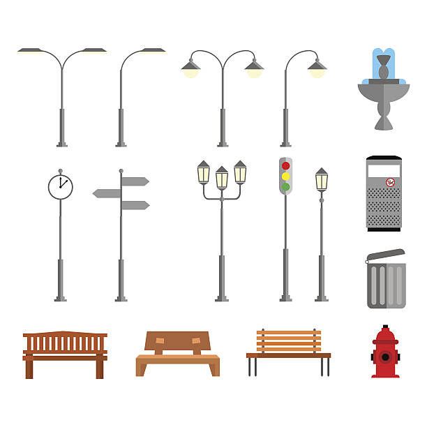 stockillustraties, clipart, cartoons en iconen met set of elements in a flat design style to the - straatlamp