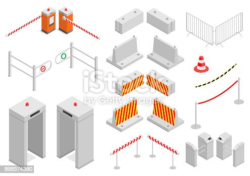 Set of elements infrastructure city safety and security. Different control systems . Isometric. Vector graphics