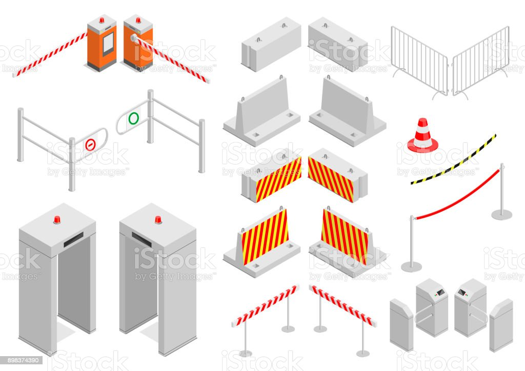 Set of elements infrastructure security vector art illustration