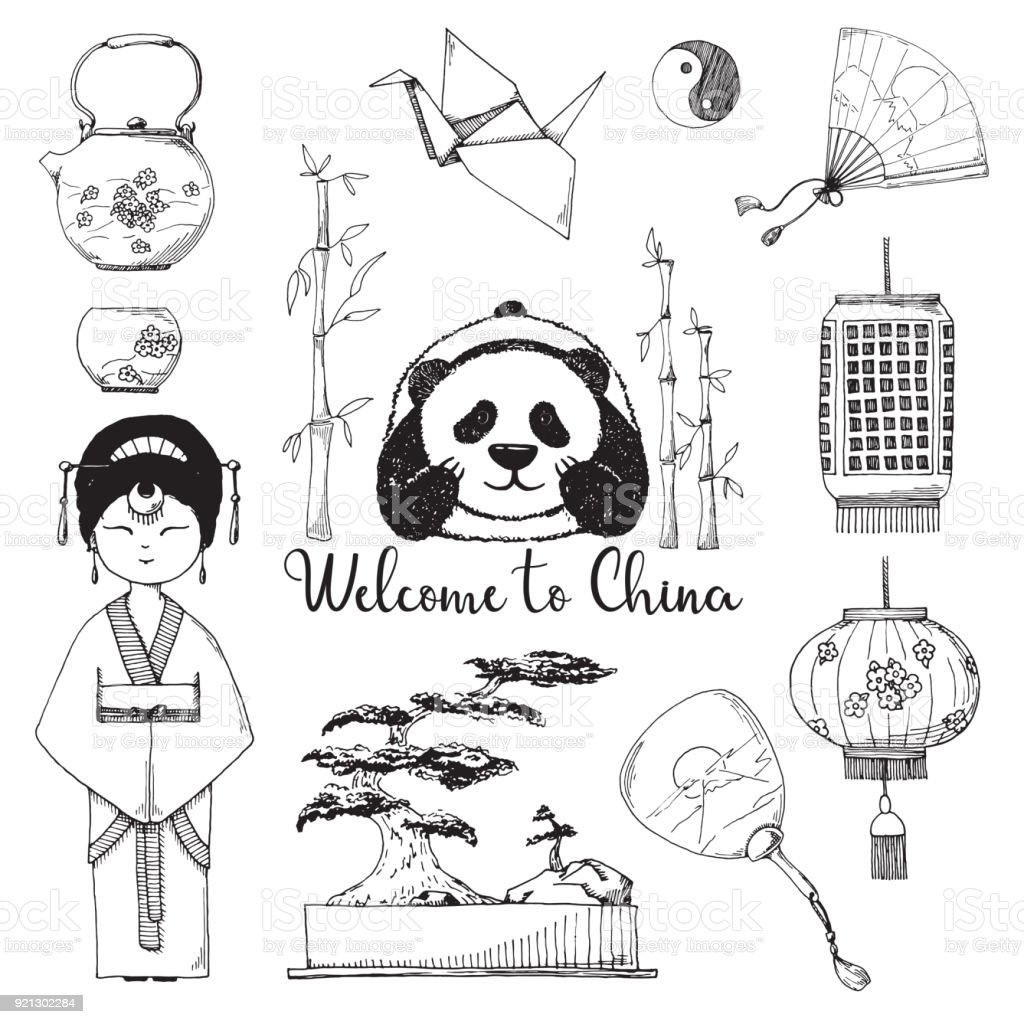 Set Of Elements Chinese Culture Vector Illustration In Sketch Style Royalty Free