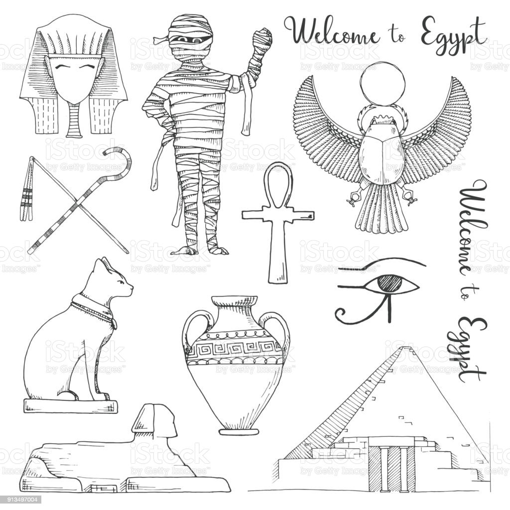 Set of elements of Egyptian culture. Vector illustration in sketch style. vector art illustration