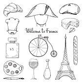 Set of elements of French culture. Welcome to France. Vector illustration in sketch style.