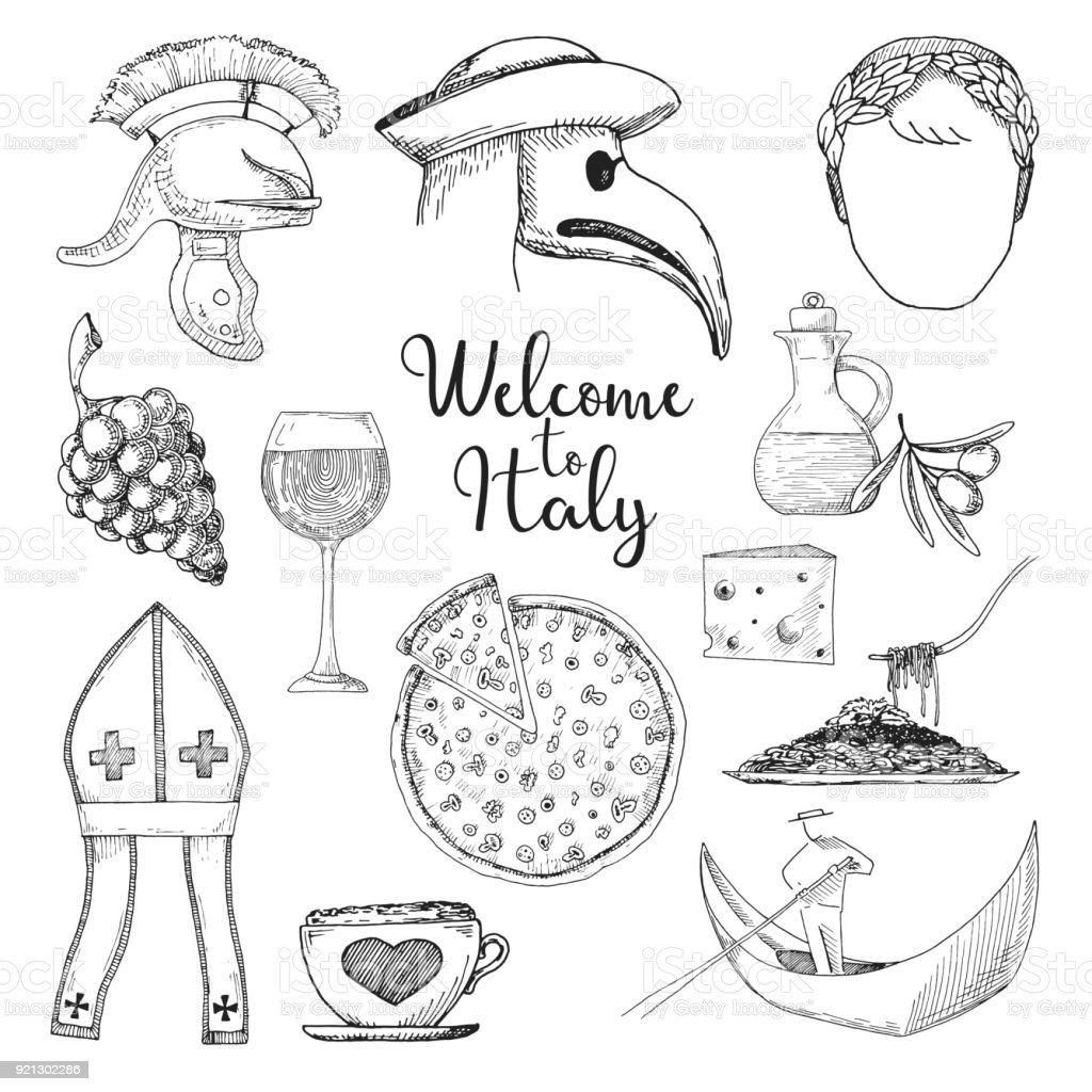 Set of elements of Italian culture. Welcome to Italy. Vector illustration in sketch style. vector art illustration