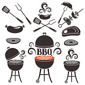 Set of elements for design on a theme of barbecue