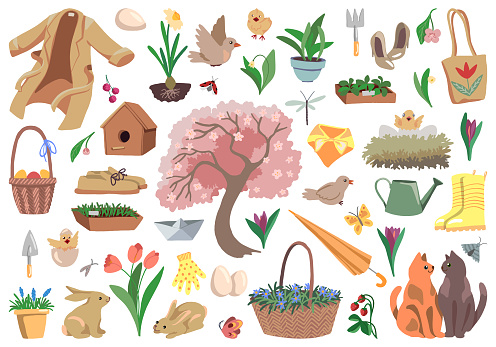 Set of elements on the spring theme isolated on white. Hand drawn vector stock illustrations. Colored cartoon doodles. Drawings of plants, animals, spring time attributes and accessories. For design.