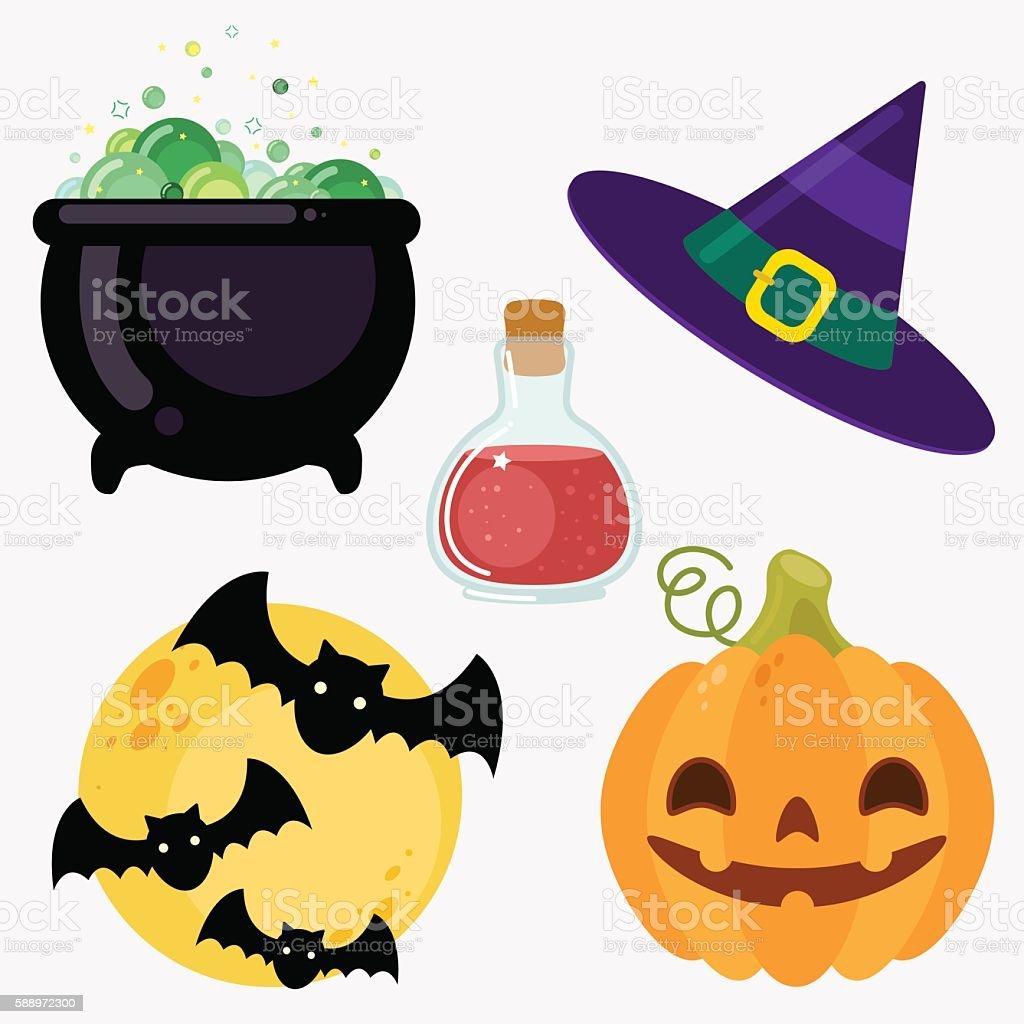 Set of elements. Witch cauldron, hat, moon, bats, poison pumpkin vector art illustration