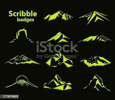 istock Set of eleven mountains peak badges 1273878903