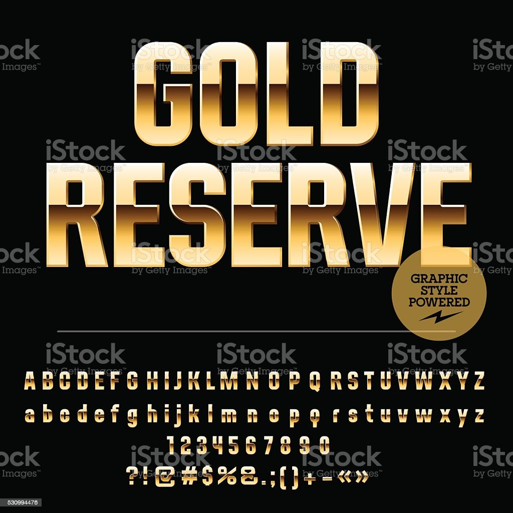 Set of elite gold alphabet letters, numbers and punctuation symbols vector art illustration