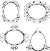 Set of ellipse ornamental frame