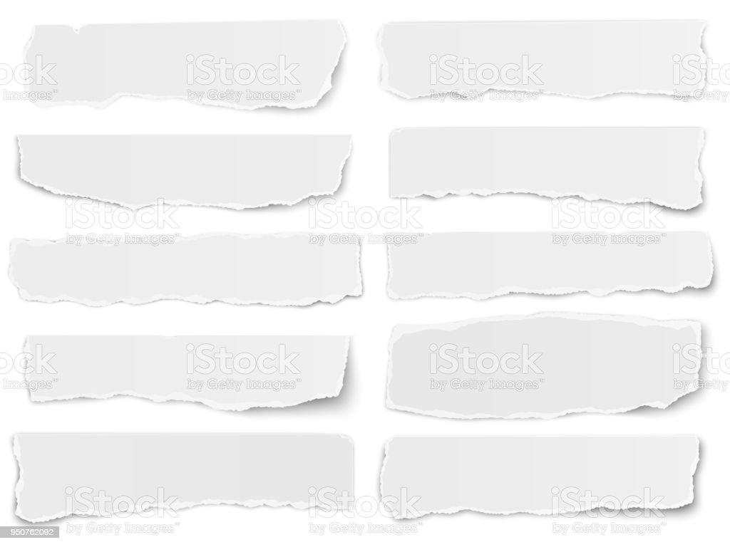 Satz von länglichen zerrissenes Papier Fragmente isoliert auf weißem Hintergrund – Vektorgrafik