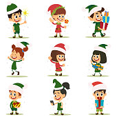 Set of elves kids cartoon character. Vector icons isolated on white background.